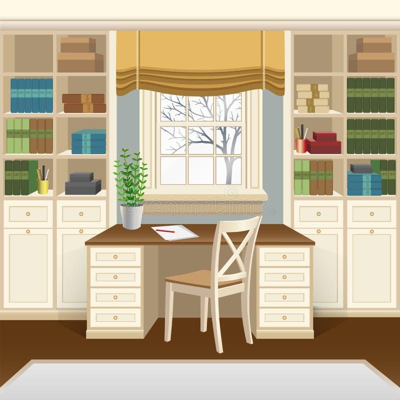 Interior do escritório domiciliário ou da sala de estudo com a tabela abaixo da janela, das bibliotecas e da cadeira ilustração stock