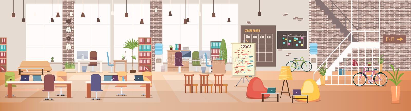 Interior do escritório Espaço de trabalho de Coworking Vetor ilustração stock