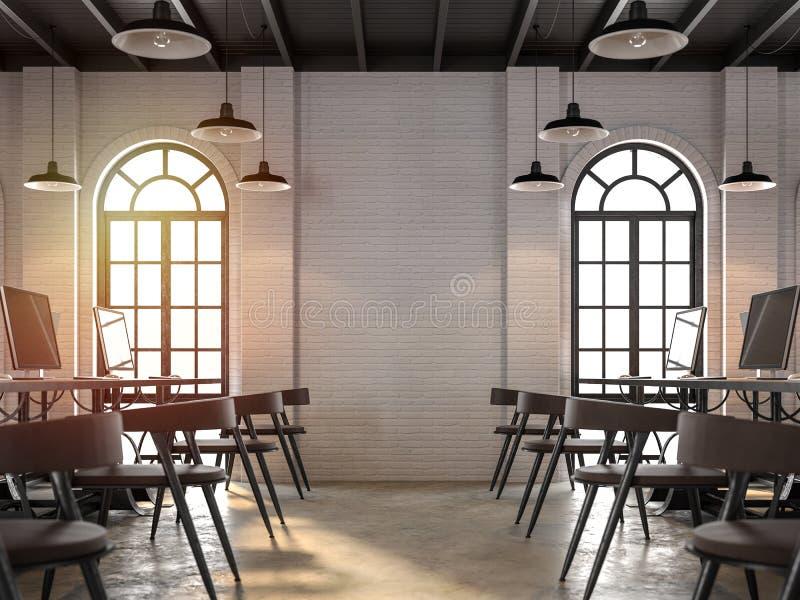 Interior do escritório do estilo do sótão com a luz solar que brilha na sala 3d para render ilustração stock