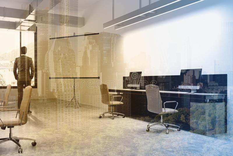 Interior do escritório, tela para as apresentações tonificadas fotografia de stock