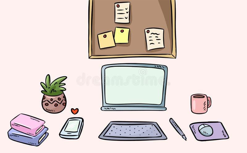 Interior do espa?o de trabalho do artista Mesa de escritório domiciliário autônomo do estilo dos desenhos animados ilustração stock