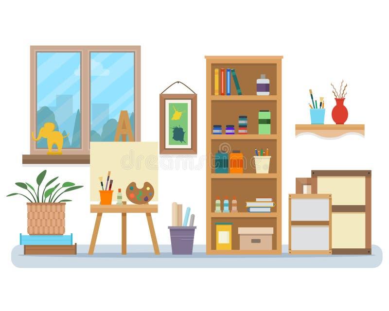 Interior do estúdio da arte ilustração do vetor