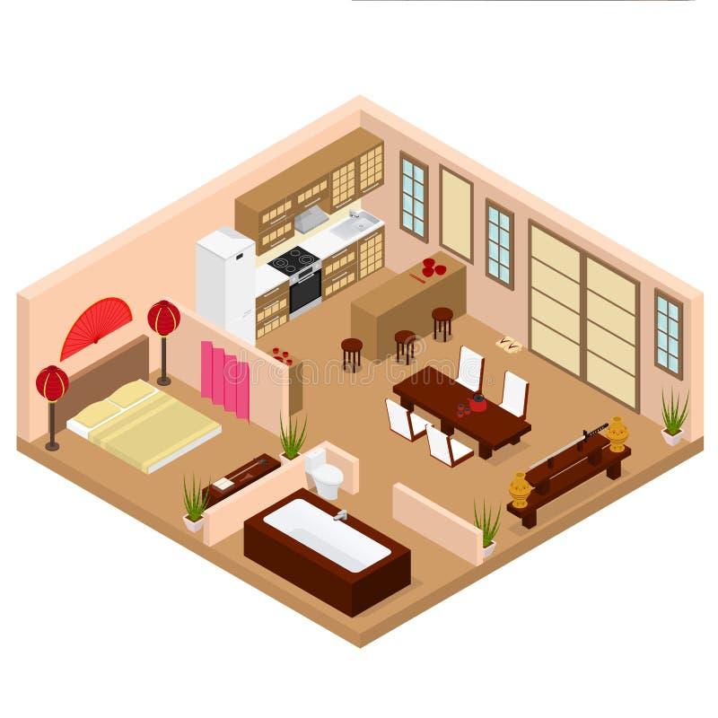 Interior do estilo japonês do apartamento com opinião isométrica da mobília Vetor ilustração stock