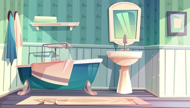 Interior do estilo do vintage de provence do vetor do banheiro ilustração stock