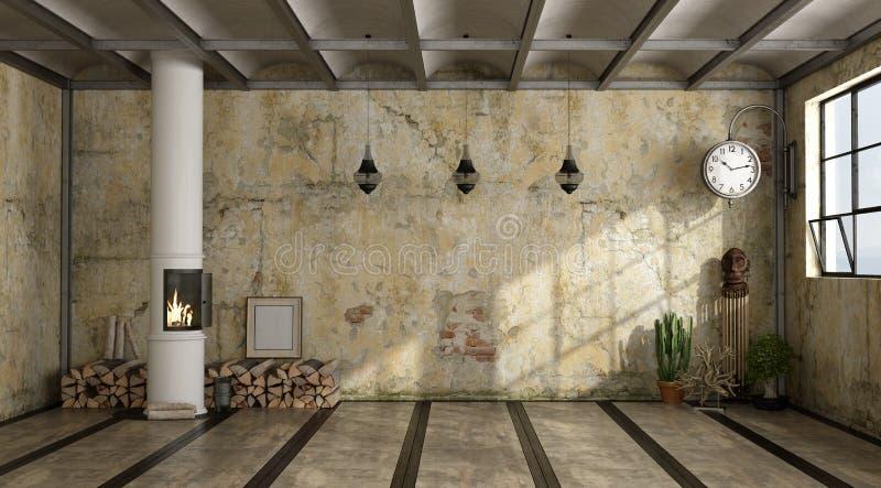 Interior do Grunge com fogão ilustração do vetor