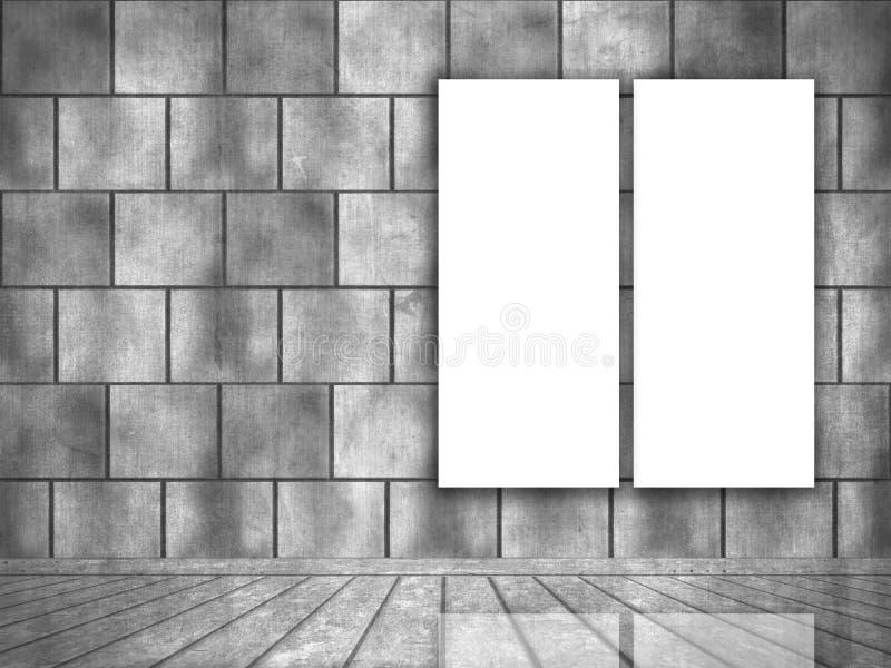 interior do grunge 3D com as lonas vazias que penduram na parede ilustração do vetor