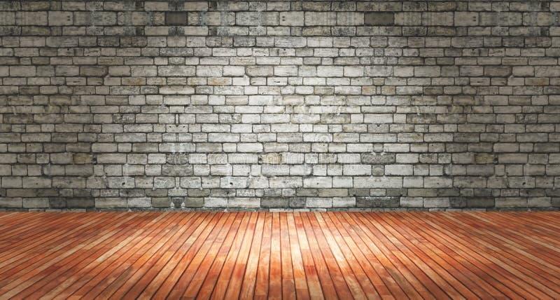 interior do grunge 3D com parede de tijolo e o assoalho de madeira ilustração do vetor
