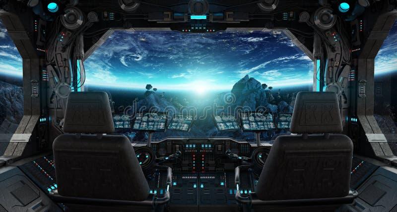 Interior do grunge da nave espacial com vista na terra do planeta ilustração stock