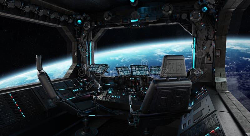 Interior do grunge da nave espacial com vista na terra do planeta ilustração royalty free