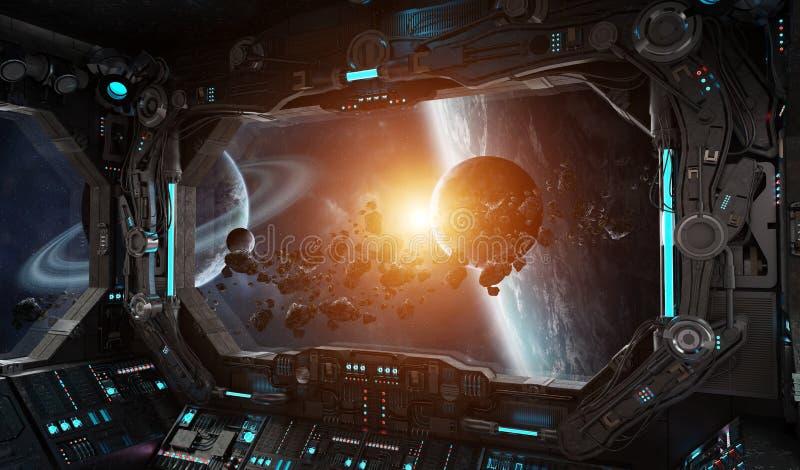 Interior do grunge da nave espacial com vista no exoplanet ilustração do vetor