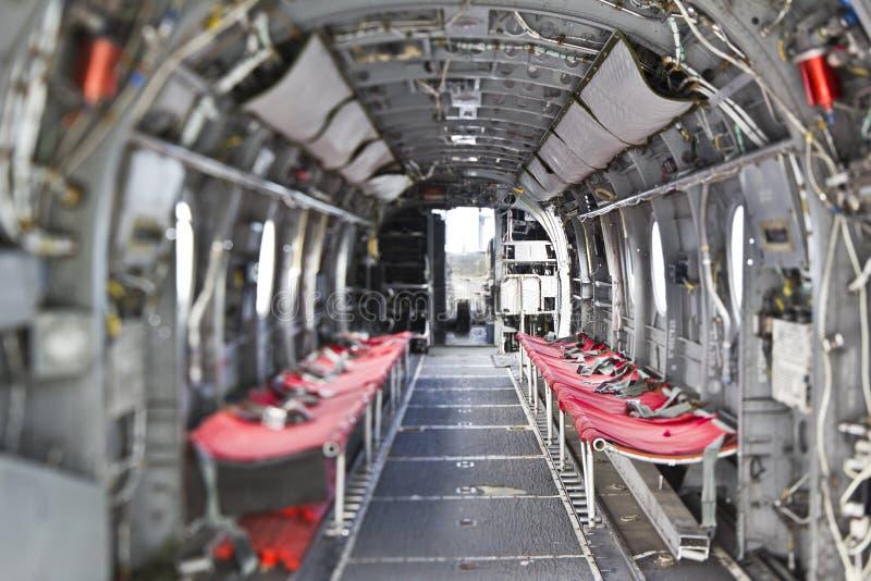 Interior do helicóptero do cavaleiro do mar H-46 imagens de stock