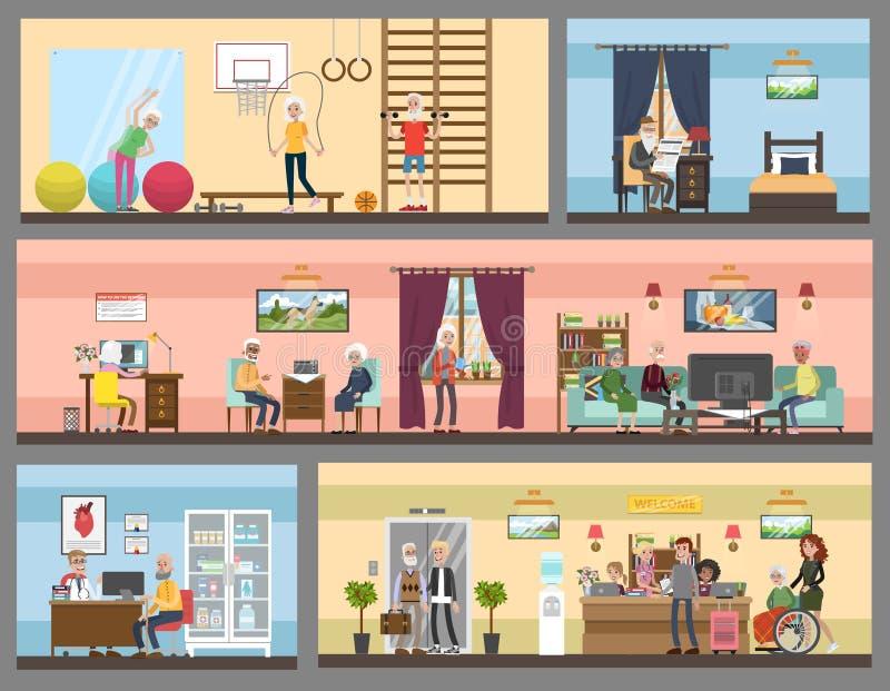 Interior do lar de idosos ilustração stock