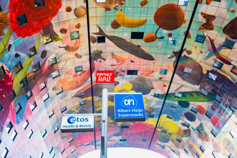 Interior do mercado Salão em Rotterdam Países Baixos fotografia de stock