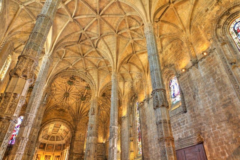Interior do monastério Lisboa de Jeronimos, Portugal foto de stock royalty free