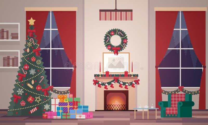 Interior do Natal da sala de visitas em um estilo liso Nivelando a cena do ` s do ano novo ilustração stock