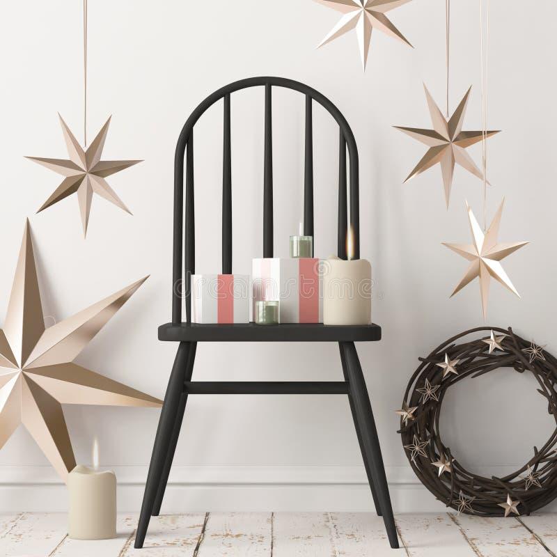 Interior do Natal, decorado no estilo escandinavo rendição 3d ilustração 3D ilustração stock