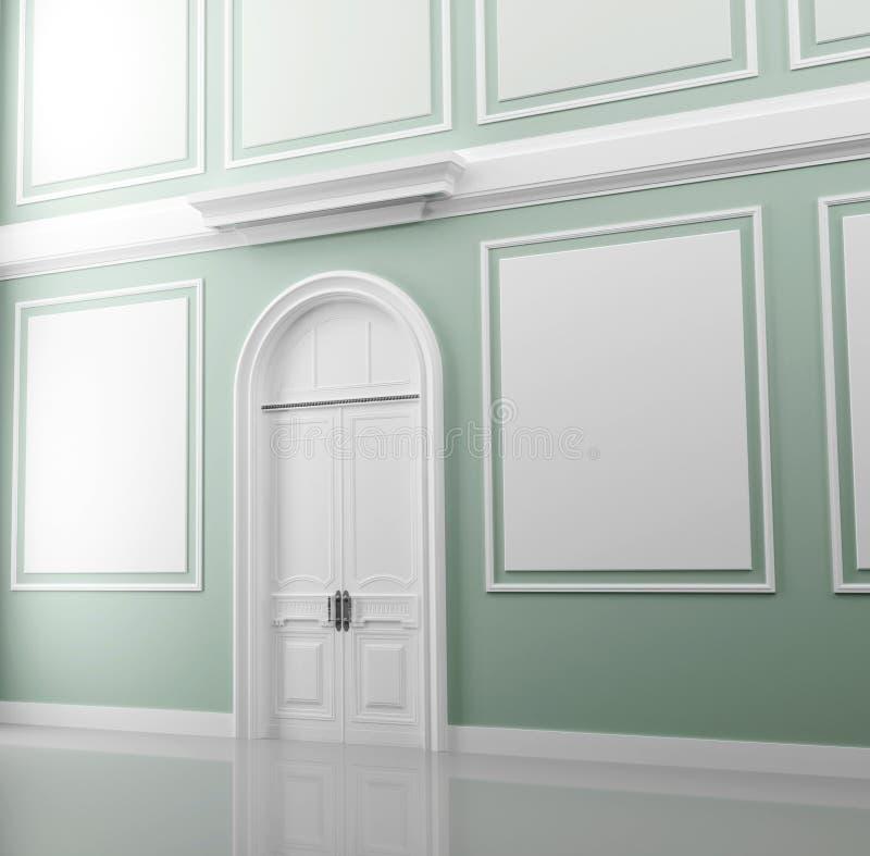 Interior do palácio com paredes verdes e a porta branca ilustração royalty free
