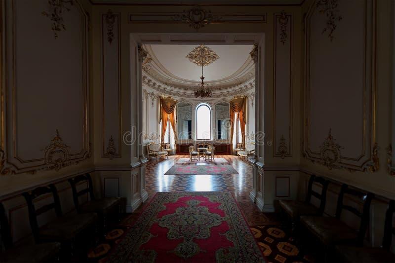 Interior do palácio das contagens Tolstoy, conhecido geralmente como a casa dos cientistas em Odesa, Ukr fotografia de stock royalty free