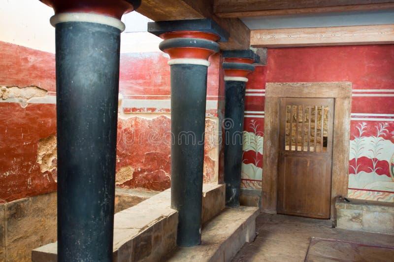 Interior do palácio de Knossos na ilha da Creta, Grécia foto de stock