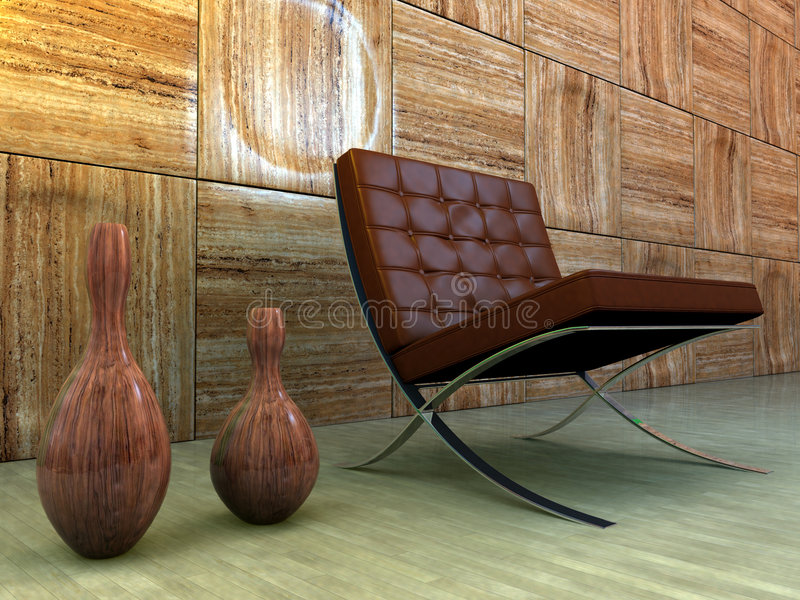 Interior do projeto com cadeira ilustração stock