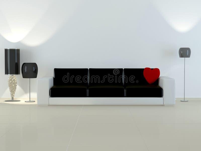 Interior do projeto da sala de visitas moderna da elegância ilustração do vetor