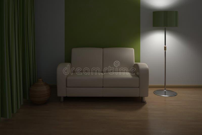 Interior do projeto. Sofá na sala de visitas moderna. imagem de stock
