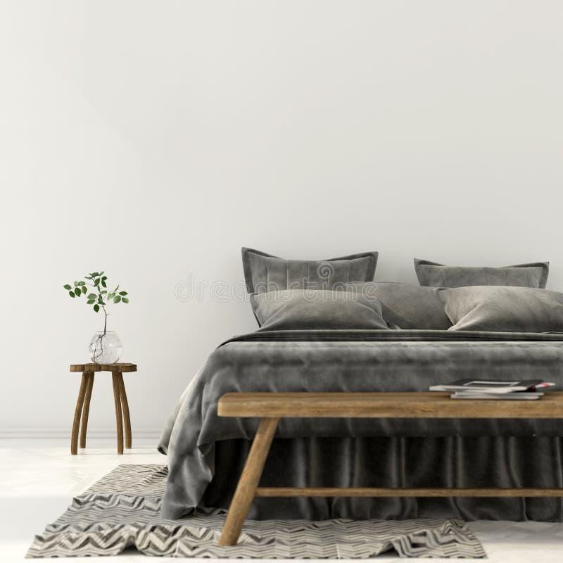 Interior do quarto com cama cinzenta ilustração do vetor