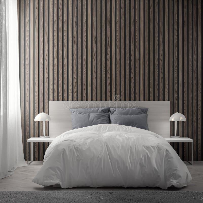 Interior do quarto com a parede de madeira das pranchas, rendição 3D ilustração stock