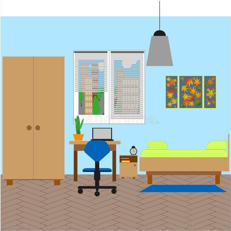 Interior do quarto com uma cama individual Ilustra??o do vetor ilustração royalty free