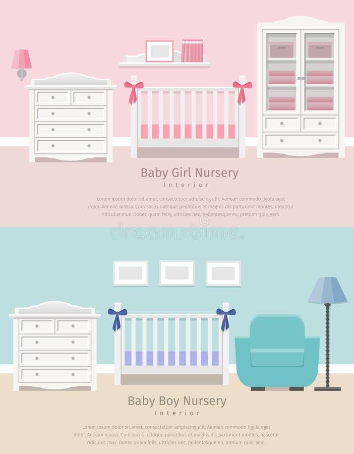 Interior do quarto do bebê Ilustração lisa do vetor ilustração royalty free