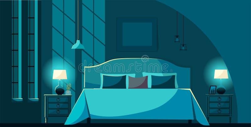 Interior do quarto do vetor na noite com mobília, cama com muitos descansos no luar Nightstands interiores do quarto, iluminando  ilustração royalty free