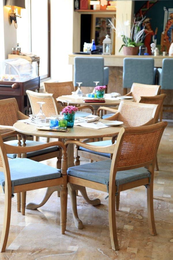 Interior do recurso luxuoso, Grécia do café foto de stock