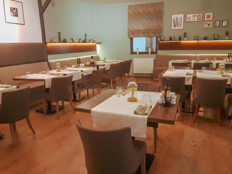 Interior do restaurante da barra do estilo do vintage foto de stock royalty free