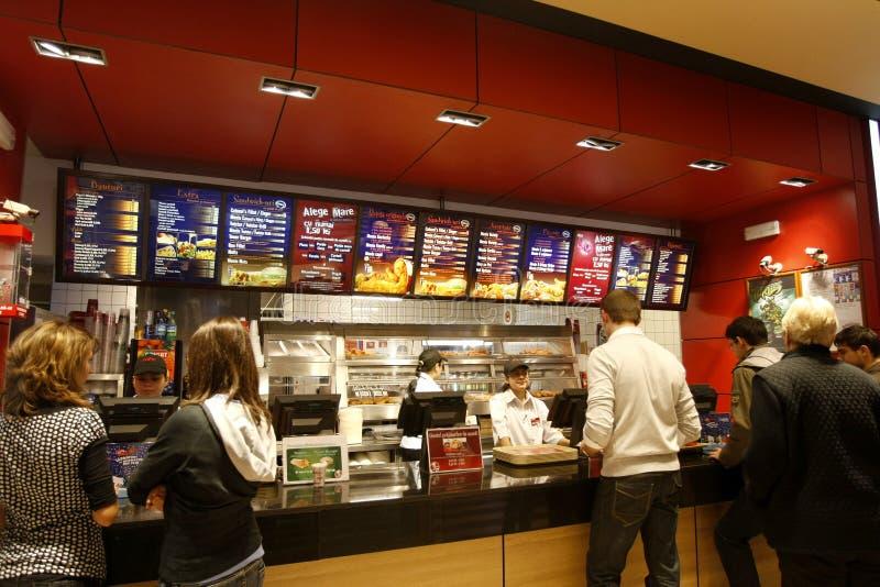 Interior do restaurante do fast food fotografia de stock royalty free