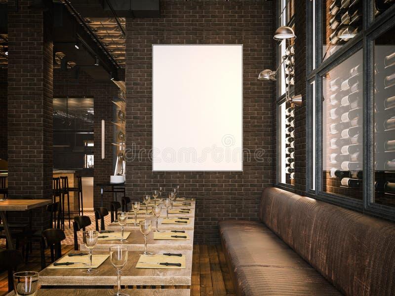 Interior do restaurante do vintage e da lona vazia rendição 3d ilustração stock