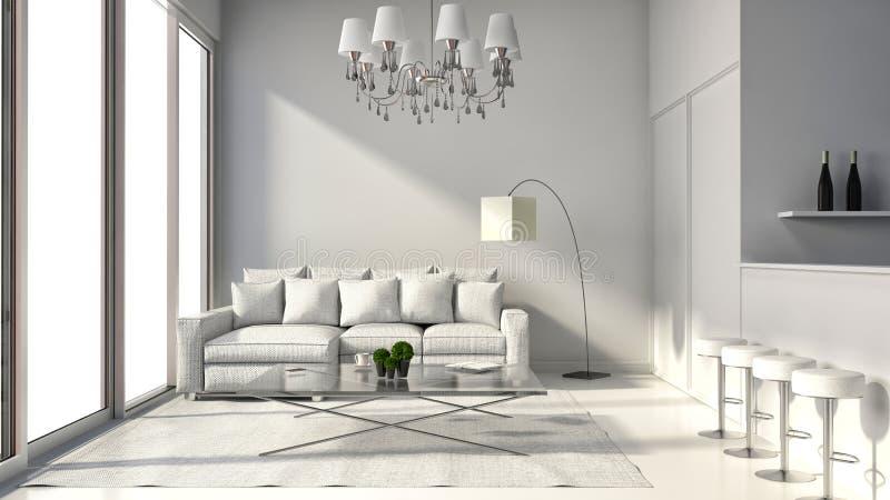 Interior do sótão do projeto moderno com lâmpada, sofá e barra 3D mim ilustração do vetor