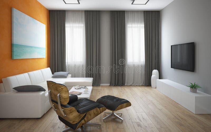 Interior do sótão moderno com parede alaranjada fotos de stock