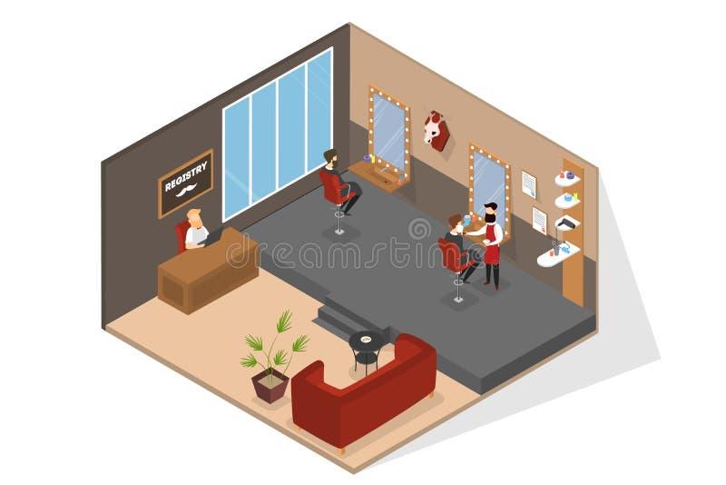 Interior do salão de beleza do barbeiro com recepção e sofá ilustração royalty free