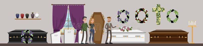 Interior do serviço fúnebre ilustração do vetor