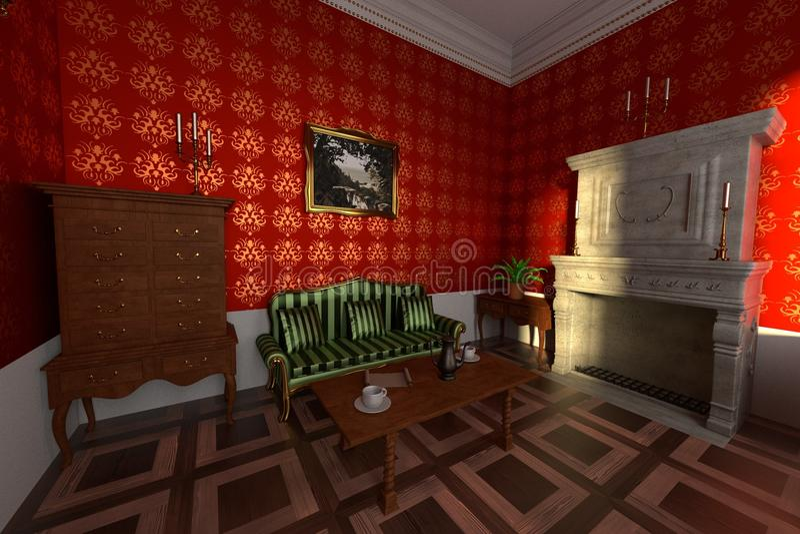 Interior do solar - sala de visitas ilustração royalty free