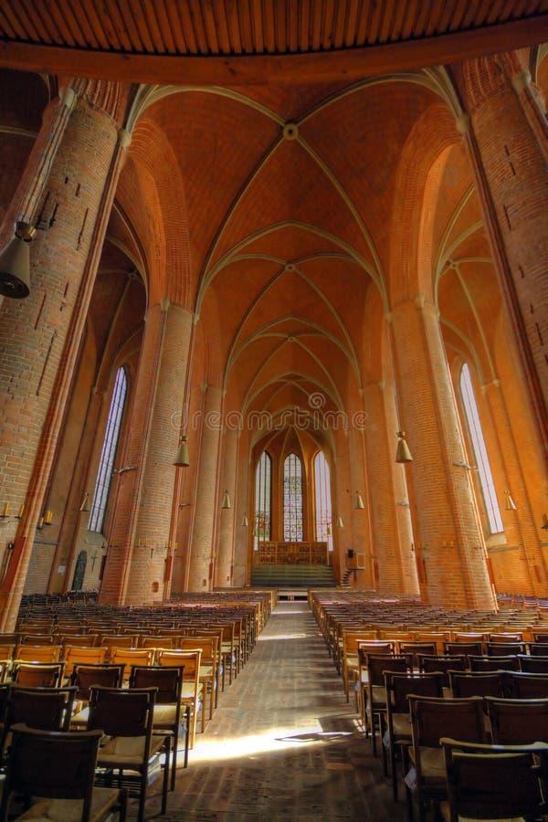 Interior do St Georgii e do Jacobi de Marktkirche da igreja luterana em Hannover Alemanha imagem de stock royalty free