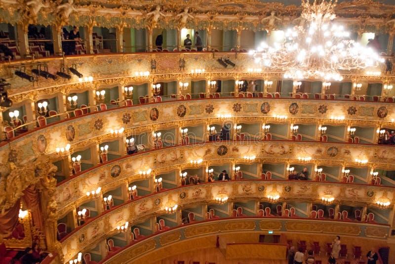 Interior do teatro de Fenice do La, Veneza, Itália fotografia de stock