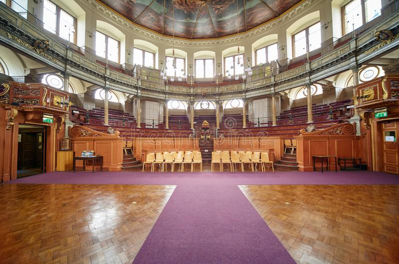 Interior do teatro de Sheldonian Universidade de Oxford oxford inglaterra fotografia de stock royalty free