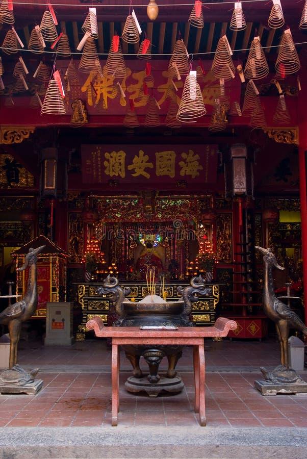 Interior do templo chinês em Vietnam fotos de stock