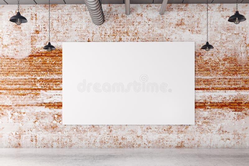 Interior do tijolo com cartaz vazio ilustração stock