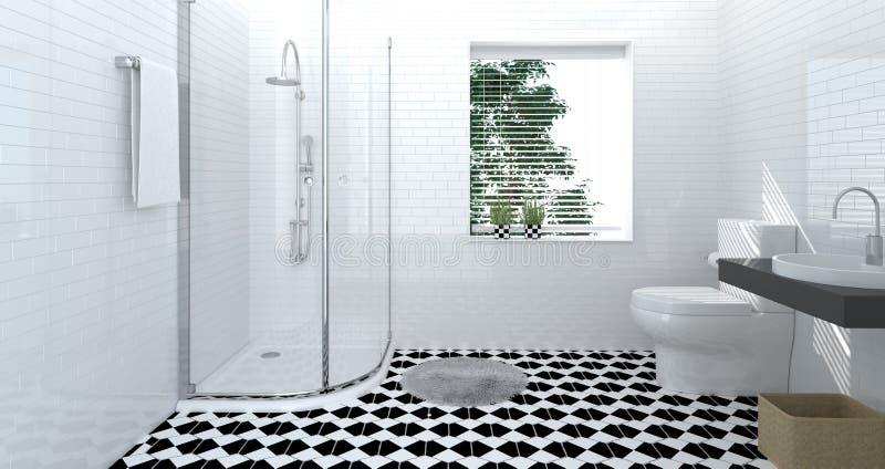 Interior do toalete do banheiro, luxo, chuveiro, rendição home moderna do fundo 3d do projeto para o espaço da cópia ilustração stock