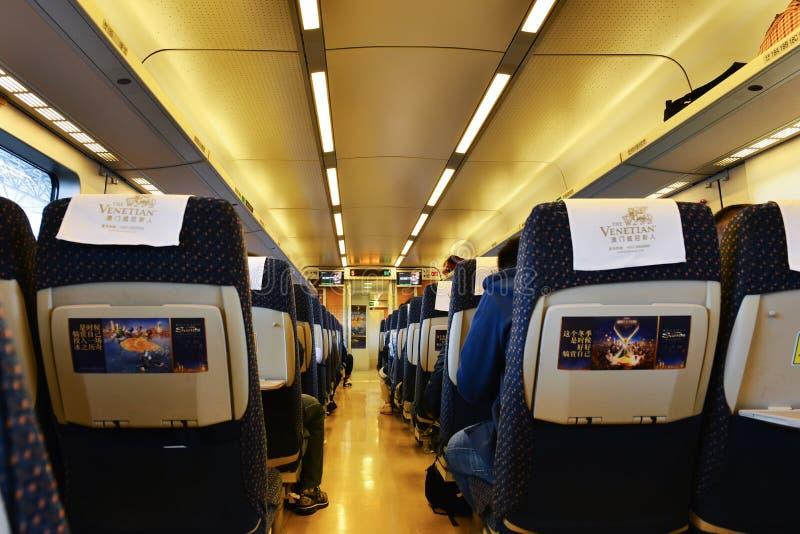 Interior do transporte railway de alta velocidade imagens de stock