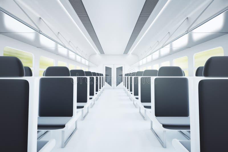 Interior do trem com assentos pretos ilustração royalty free