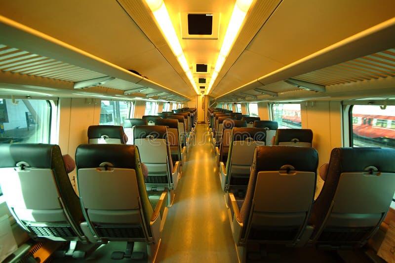 Interior do trem em Finlandia imagens de stock