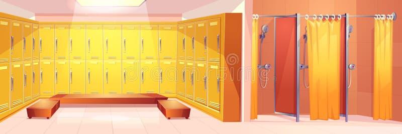 Interior do vetor da caixa da sala de cacifos do clube de esporte ilustração stock